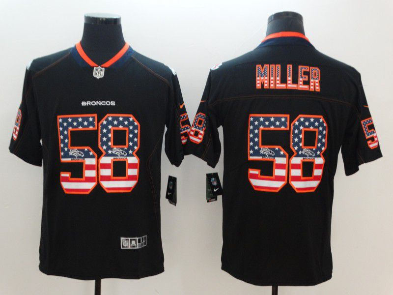 Men Denver Broncos 58 Miller Nike USA Flag Fashion Black Color Rush Limited NFL Jerseys