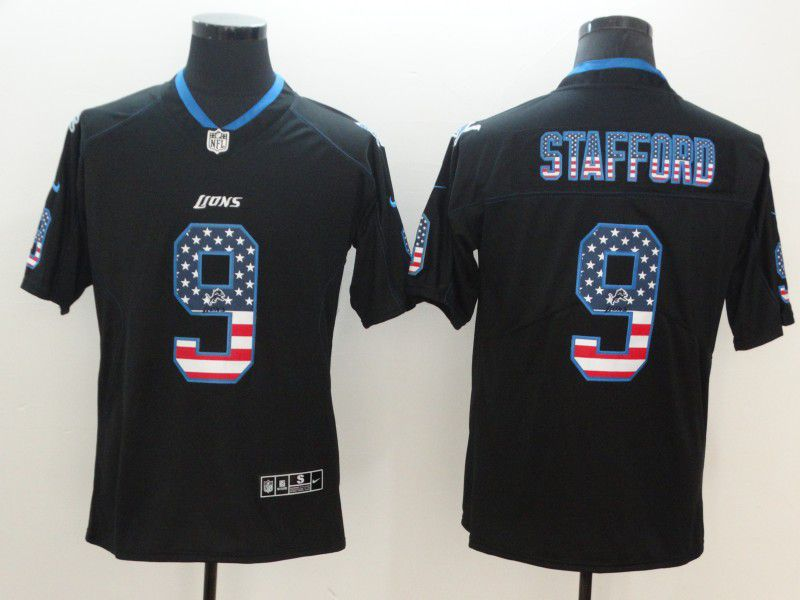 Men Detroit Lions 9 Stafford Nike USA Flag Fashion Black Color Rush Limited NFL Jerseys