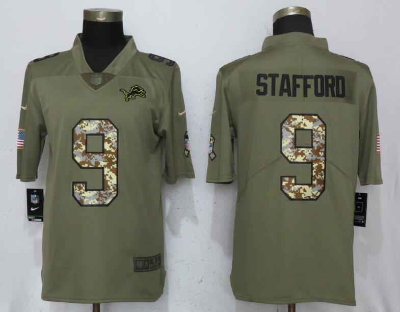 4d8ea5b7c36 Men Detroit Lions 9 Stafford Olive Camo Carson 2017 Salute to Service  Limited Nike NFL Jerseys