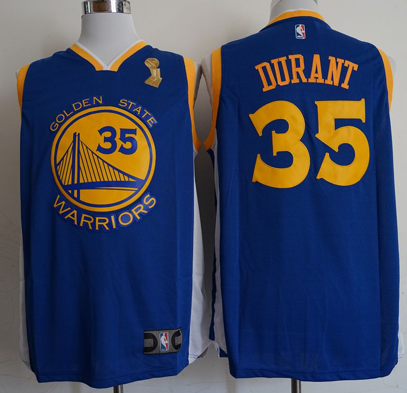 Men Golden State Warriors 35 Durant Blue Champion Game Nike NBA Jerseys