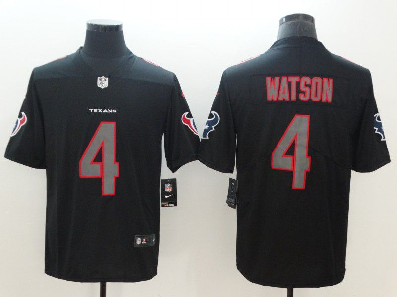 Men Houston Texans 4 Watson Nike Fashion Impact Black Color Rush Limited NFL Jerseys