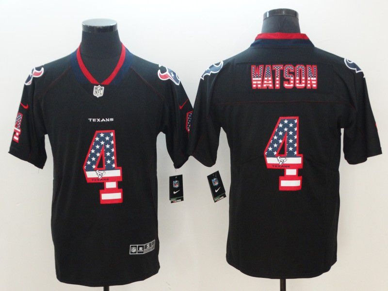 Men Houston Texans 4 Watson Nike USA Flag Fashion Black Color Rush Limited NFL Jerseys