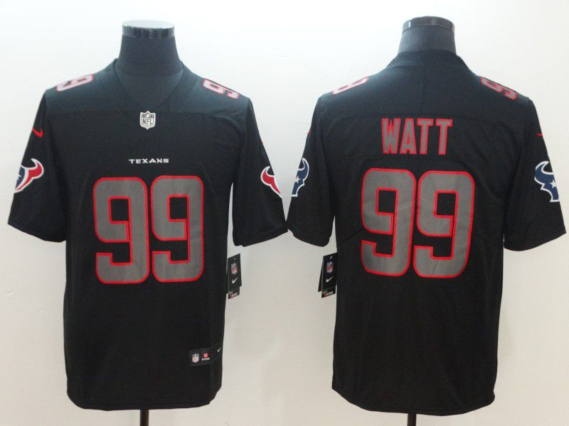 Men Houston Texans 99 Watt Nike Fashion Impact Black Color Rush Limited NFL Jerseys