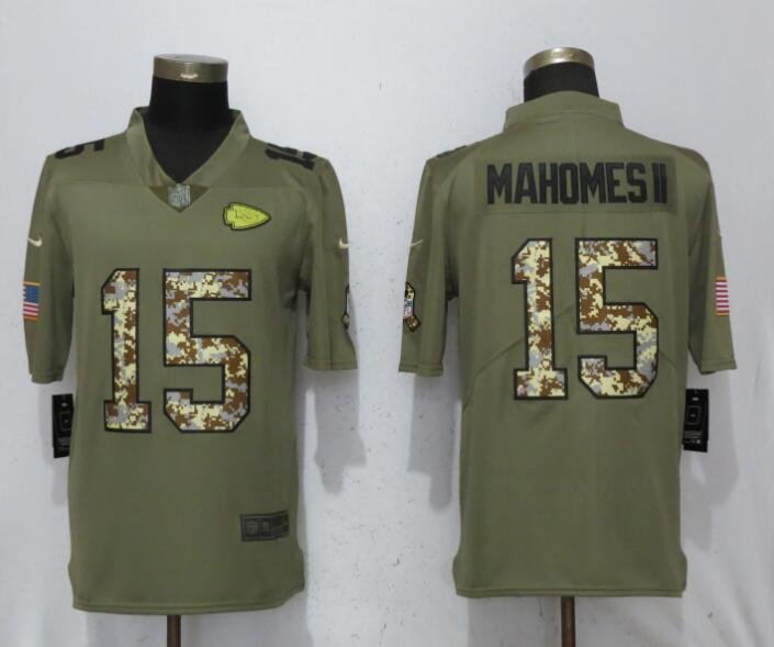 Men Kansas City Chiefs 15 Mahomes ll Olive Camo Carson 2017 Salute to Service Limited Nike NFL Jerseys