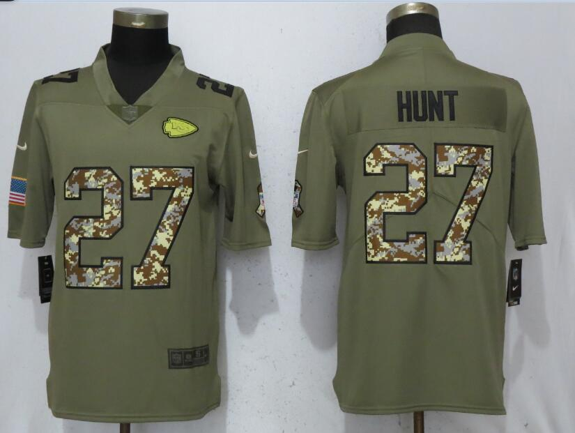 Men Kansas City Chiefs 27 Hunt Olive Camo Carson 2017 Salute to Service Limited Nike NFL Jerseys