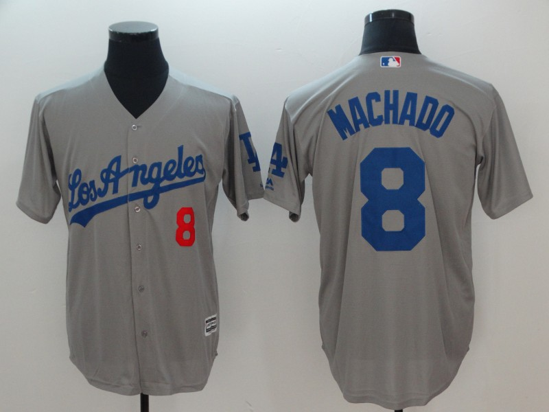 Men Los Angeles Dodgers 8 Machado Grey Game MLB Jerseys
