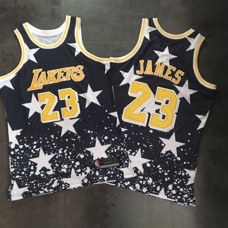 Men Los Angeles Lakers 23 James Black Independent day embroidery series NBA Jerseys