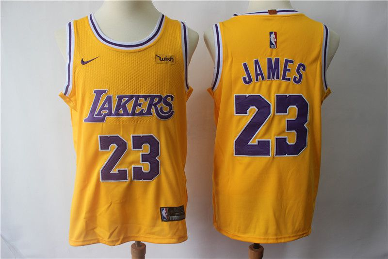 Men Los Angeles Lakers 23 James Yellow Personal tailor Nike NBA Jerseys
