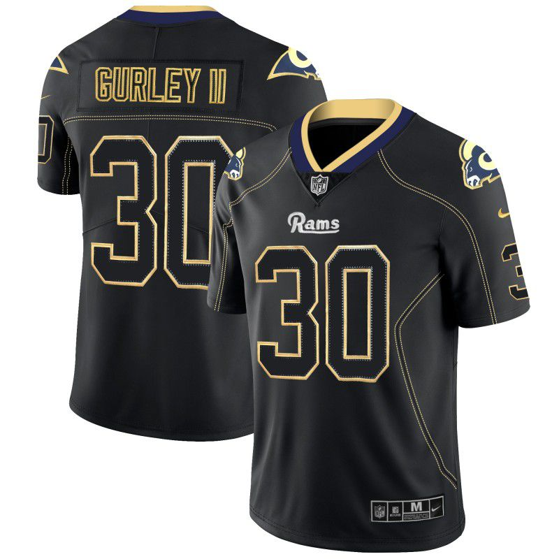 Men Los Angeles Rams 30 Gurley ii Nike Lights Out Black Color Rush Limited NFL Jerseys