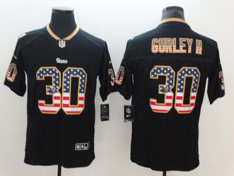 Men Los Angeles Rams 30 Gurley ii Nike USA Flag Fashion Black Color Rush Limited NFL Jerseys
