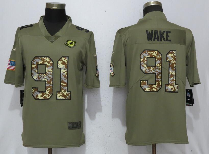 Men Miami Dolphins 91 Wake Olive Camo Carson 2017 Salute to Service Limited Nike NFL Jerseys