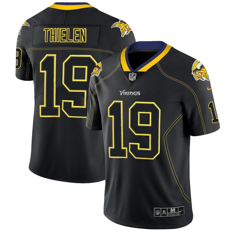 Men Minnesota Vikings 19 Thielen Nike Lights Out Black Color Rush Limited NFL Jerseys