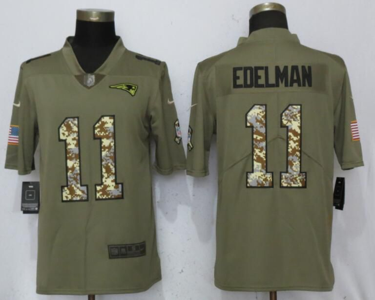 Men New England Patriots 11 Edelman Olive Camo Carson Nike Salute to Service Limited NFL Jerseys