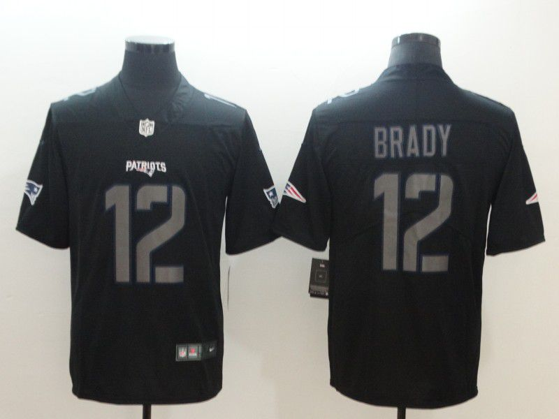 Men New England Patriots 12 Brady Nike Fashion Impact Black Color Rush Limited NFL Jerseys