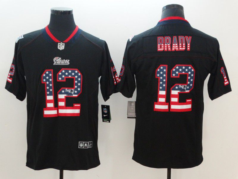 Men New England Patriots 12 Brady Nike USA Flag Fashion Black Color Rush Limited NFL Jerseys