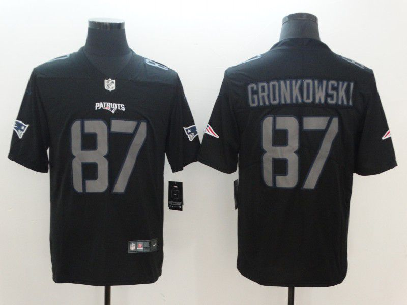 Men New England Patriots 87 Gronkowski Nike Fashion Impact Black Color Rush Limited NFL Jerseys