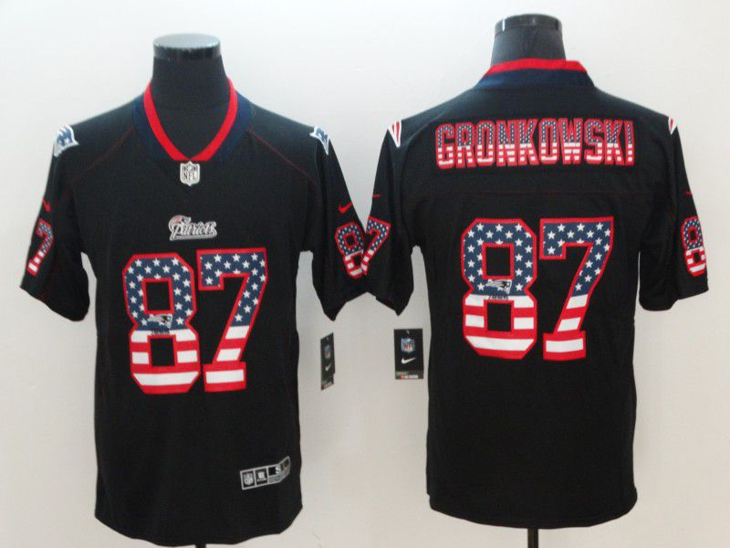 Men New England Patriots 87 Gronkowski Nike USA Flag Fashion Black Color Rush Limited NFL Jerseys