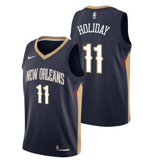 Men New Orleans Pelicans 11 Holiday Blue Game Nike NBA Jerseys