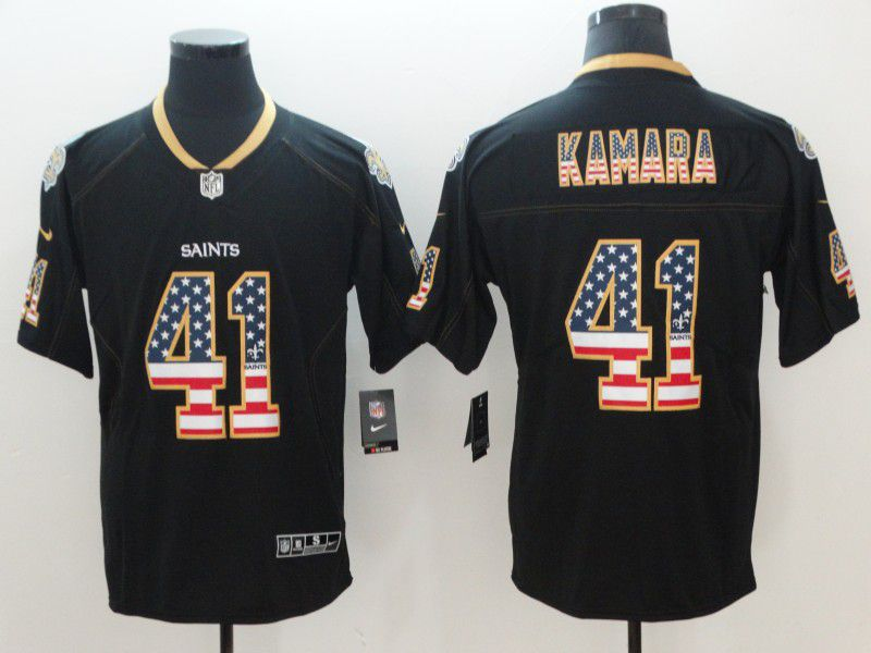 Men New Orleans Saints 41 Kamara Nike USA Flag Fashion Black Color Rush Limited NFL Jerseys