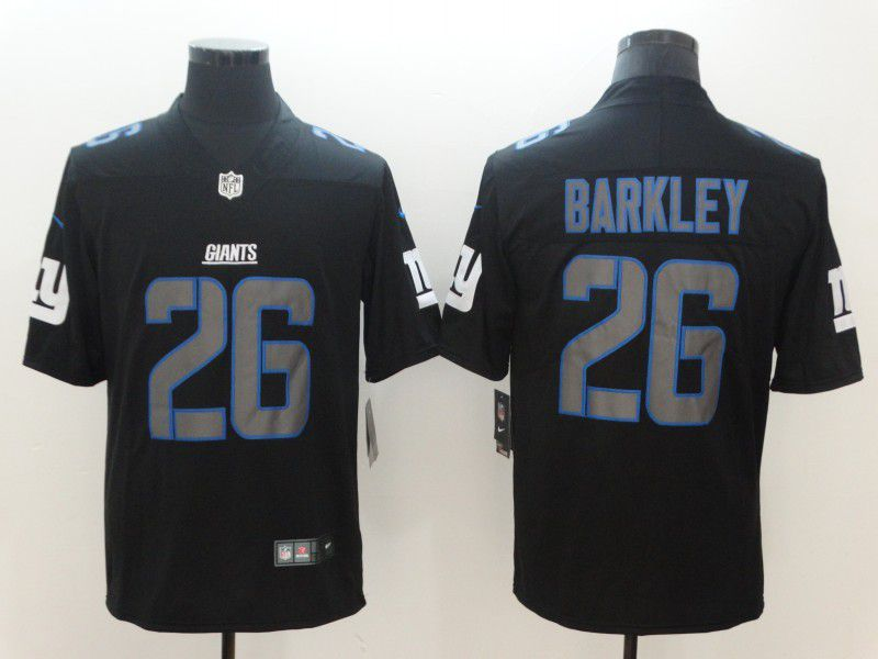Men New York Giants 26 Barkley Nike Fashion Impact Black Color Rush Limited NFL Jerseys
