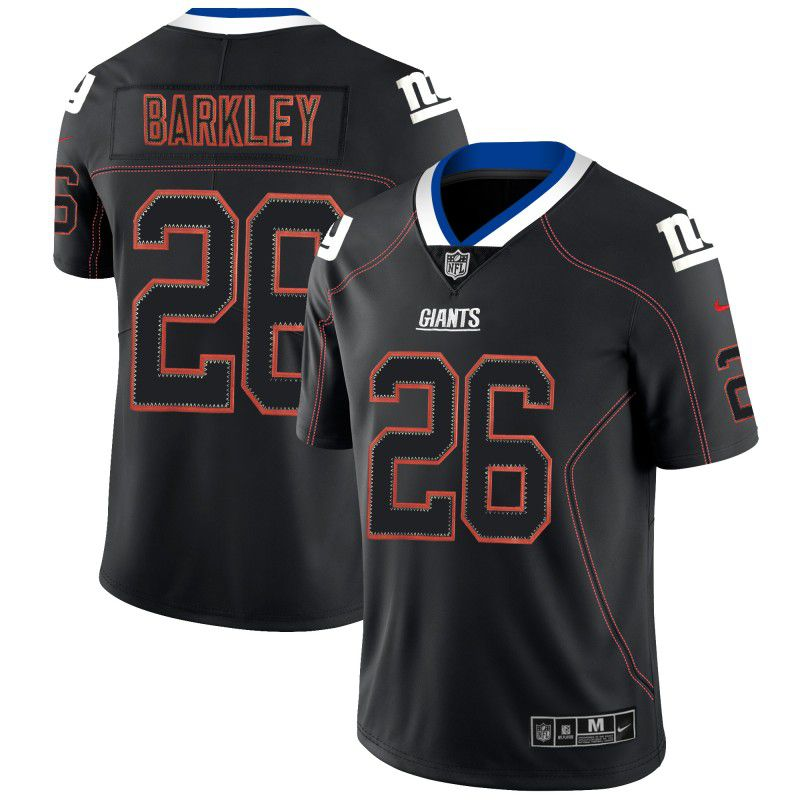 Men New York Giants 26 Barkley Nike Lights Out Black Color Rush Limited NFL Jerseys