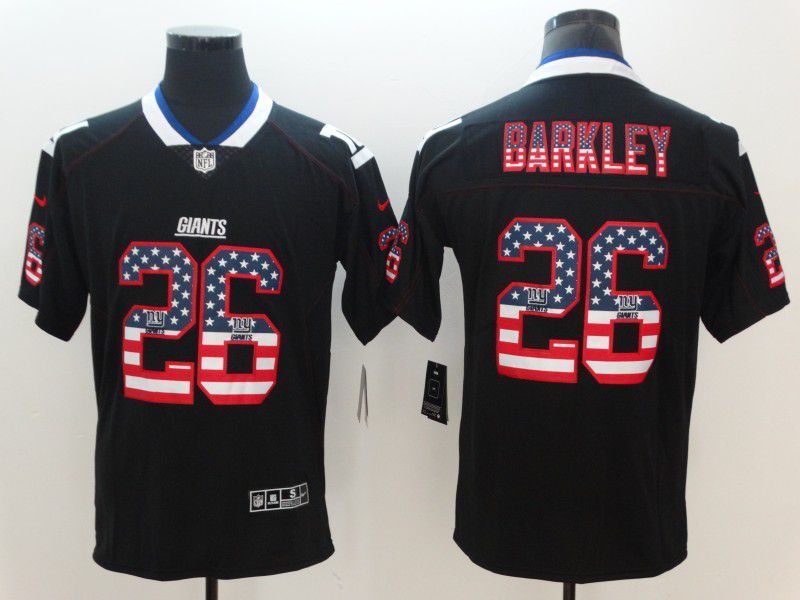 Men New York Giants 26 Barkley Nike USA Flag Fashion Black Color Rush Limited NFL Jerseys