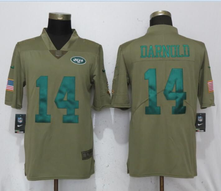 Men New York Jets 14 Darnold Grey Nike Olive Salute To Service Limited NFL Jerseys