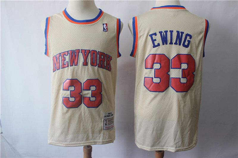 Men New York Knicks 33 Ewing Gream Retro Limited Edition NBA Jerseys