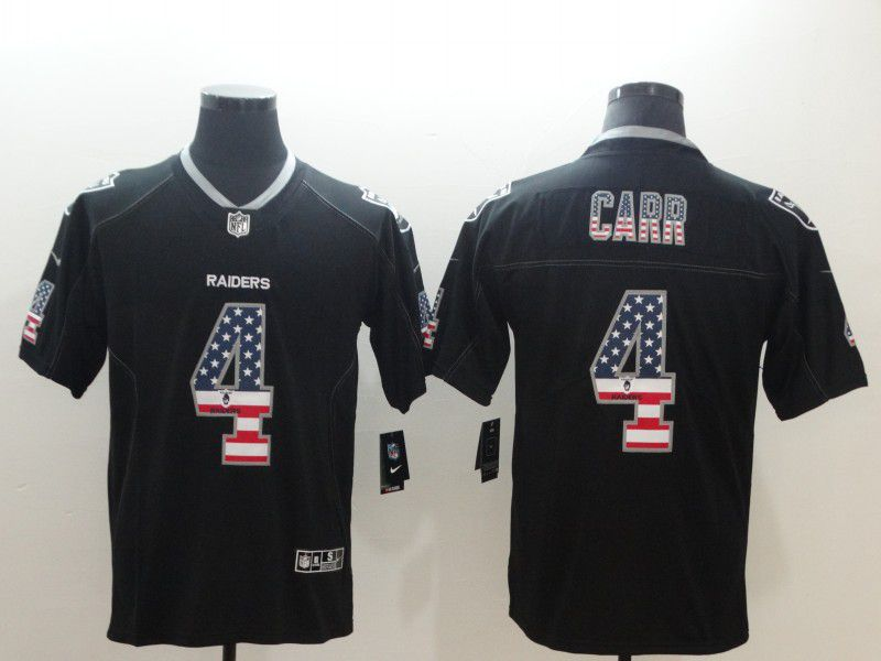 Men Oakland Raiders 4 Carr Nike USA Flag Fashion Black Color Rush Limited NFL Jerseys