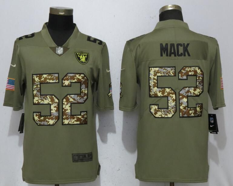 Men Oakland Raiders 52 Mack Olive Camo Carson Salute to Service Limited Nike NFL Jerseys