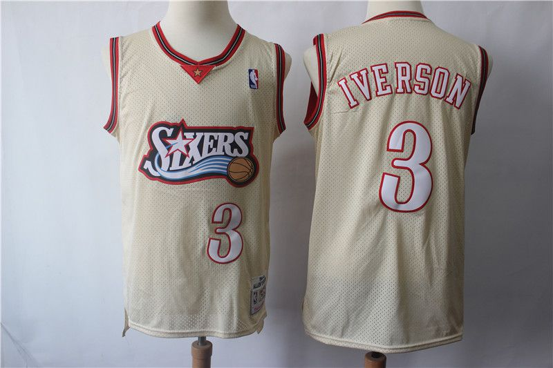 Men Philadelphia 76ers 3 Iverson Gream Retro Limited Edition NBA Jerseys