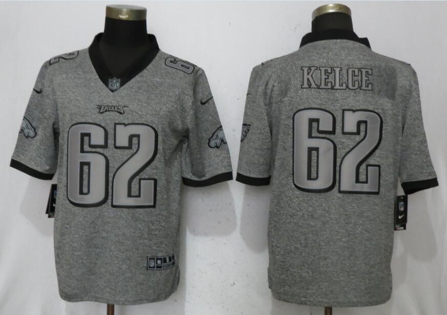 Men Philadelphia Eagles 62 Kelce Gray Vapor Untouchable Stitched Gridiron Nike Limited NFL Jerseys