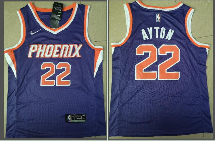 Men Phoenix Suns 22 Ayton Purple Game Nike NBA Jerseys