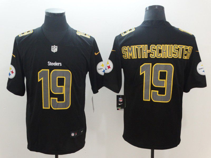 Men Pittsburgh Steelers 19 Smith-schuster Nike Fashion Impact Black Color Rush Limited NFL Jerseys