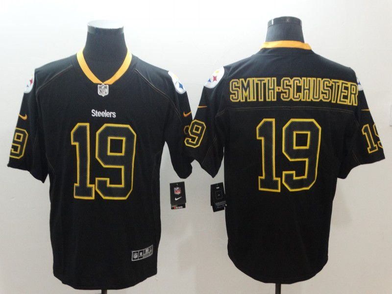 Men Pittsburgh Steelers 19 Smith-schuster Nike Lights Out Black Color Rush Limited NFL Jerseys