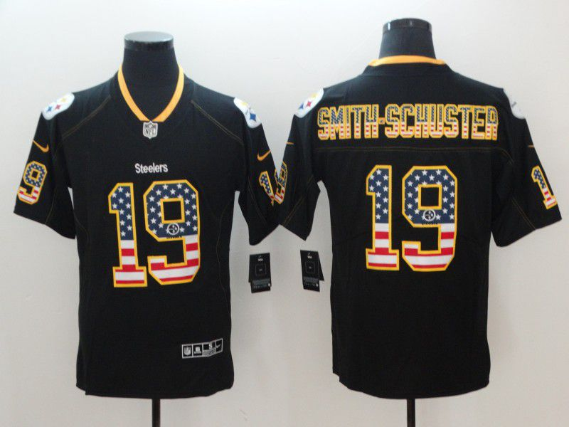 Men Pittsburgh Steelers 19 Smith-schuster Nike USA Flag Fashion Black Color Rush Limited NFL Jerseys