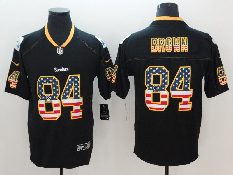 Men Pittsburgh Steelers 84 Brown Nike USA Flag Fashion Black Color Rush Limited NFL Jerseys
