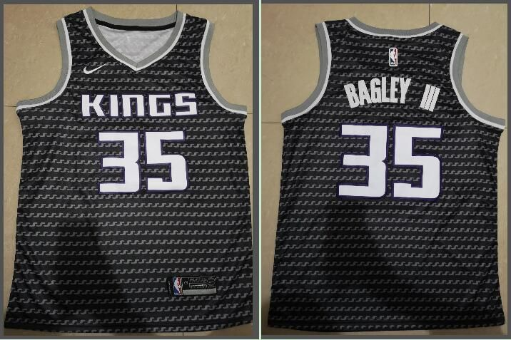 Men Sacramento Kings 35 Bagley iii Black City Edition Game Nike NBA Jerseys