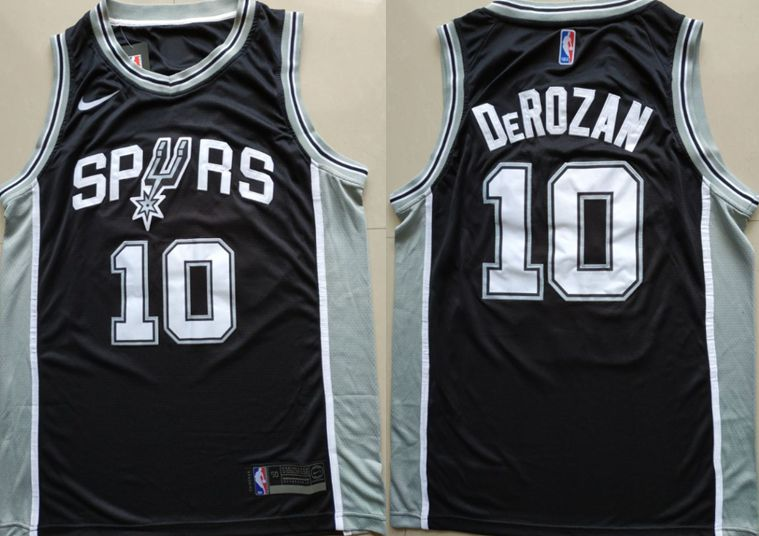 Men San Antonio Spurs 10 Derozan Black Game Nike NBA Jerseys