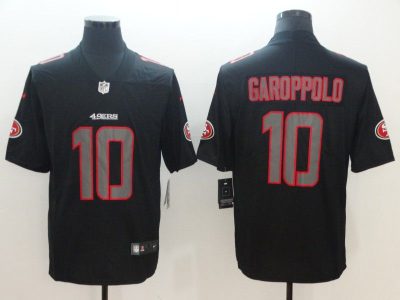 Men San Francisco 49ers 10 Garoppolo Nike Fashion Impact Black Color Rush Limited NFL Jerseys