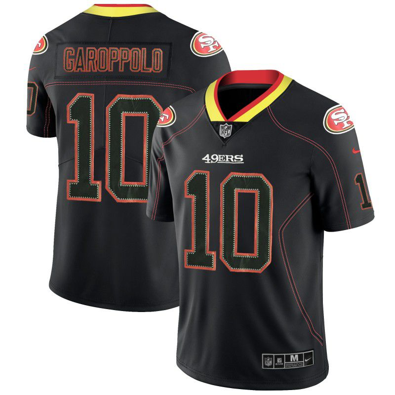 Men San Francisco 49ers 10 Garoppolo Nike Lights Out Black Color Rush Limited NFL Jerseys