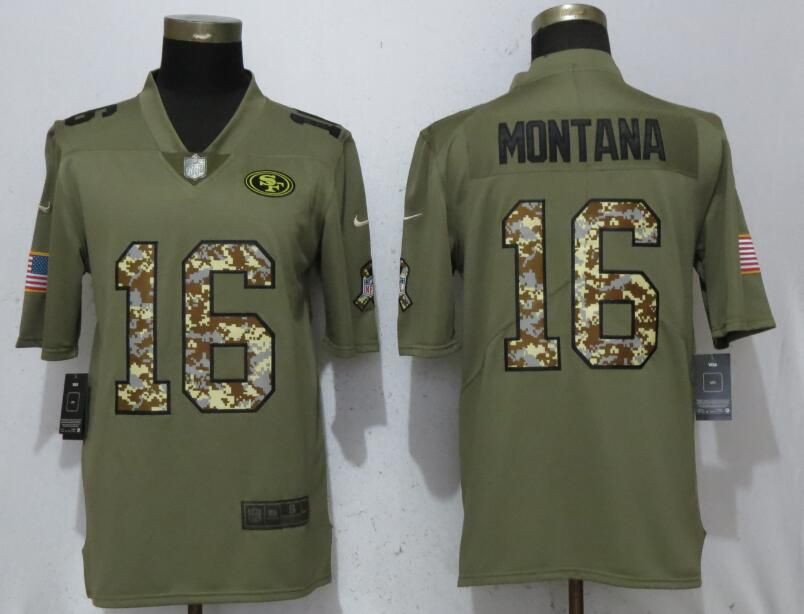 Men San Francisco 49ers 16 Montana Olive Camo Carson Salute to Service Limited Nike NFL Jerseys