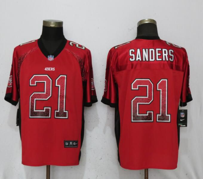 Men San Francisco 49ers 21 Sanders Drift Fashion Red Elite Nike NFL Jerseys