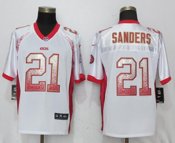 Men San Francisco 49ers 21 Sanders Drift Fashion White Elite Nike NFL Jerseys