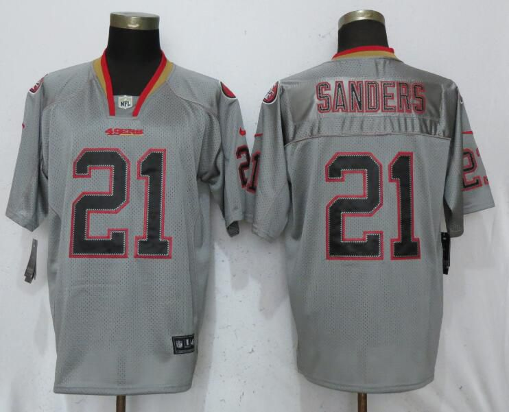 Men San Francisco 49ers 21 Sanders Lights Out Grey Elite Nike NFL Jerseys