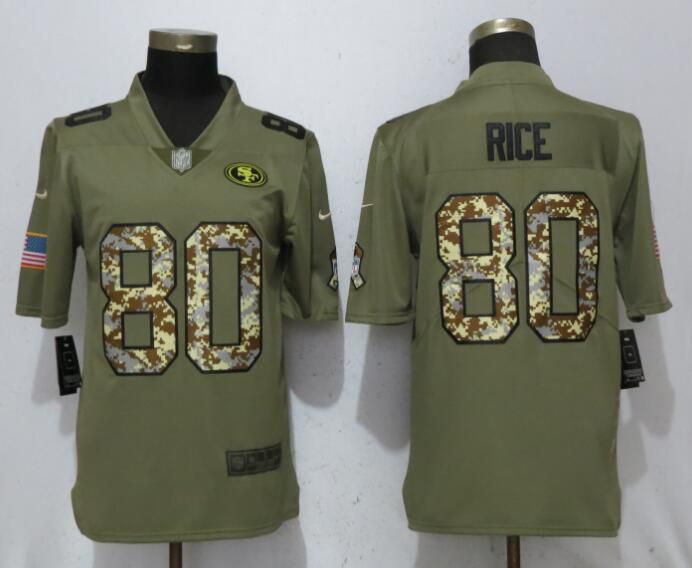 Men San Francisco 49ers 80 Rice Olive Camo Carson Salute to Service Limited Nike NFL Jerseys