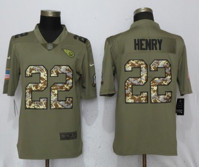 Men Tennessee Titans 22 Henry Olive Camo Carson Salute to Service Limited Nike NFL Jerseys