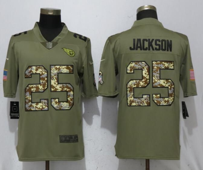 Men Tennessee Titans 25 Jackson Olive Camo Carson Salute to Service Limited Nike NFL Jerseys