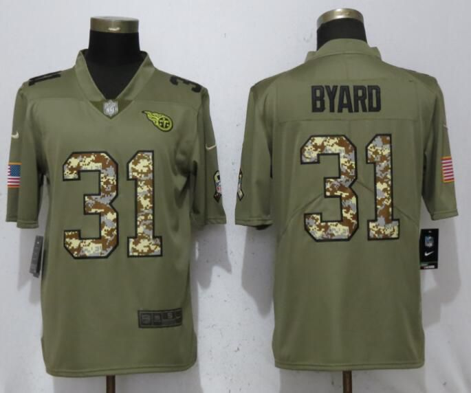 Men Tennessee Titans 31 Byard Olive Camo Carson Salute to Service Limited Nike NFL Jerseys