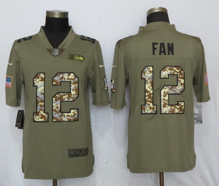 Men Seattle Seahawks 12 Fan Olive Camo Carson Nike Salute to Service Limited NFL Jerseys